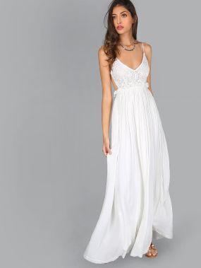 Модное макси платье с открытой спиной и кружевной вставкой