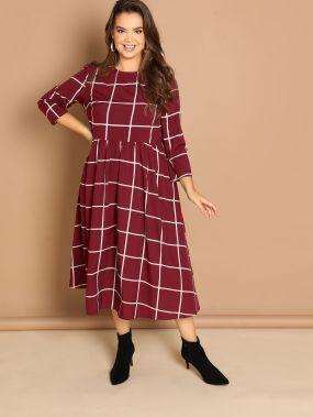 Размер плюс приталенное расклешенное платье на застежке сзади с принтом в виде сетки