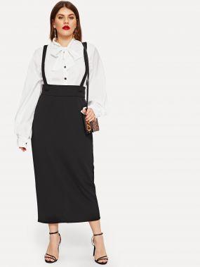 Размер плюс юбка-клеш с бретелями и шорокой талией
