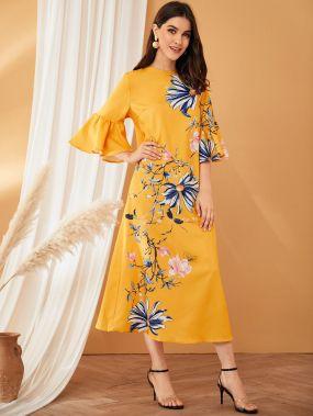 Платье с цветочным принтом, оригинальным рукавом и молнией