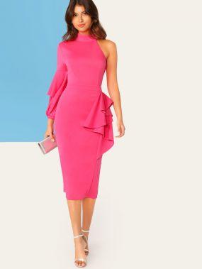 Неоновое платье-карандаш с оборкой и одним плечом
