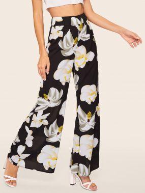 Широкие брюки с цветочным принтом