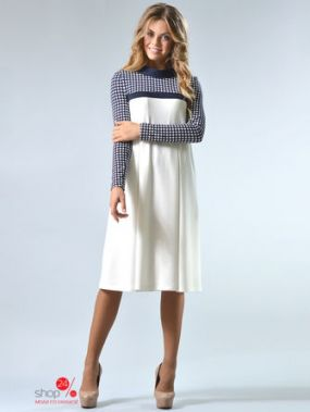 Платье LILA KASS, цвет белый, темно-синий