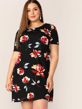 Размер плюс платье с цветочным принтом и круглым воротником