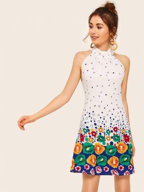 Платье с цветочным принтом, завязкой и халтером