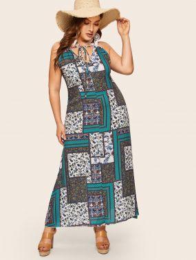 Размера плюс платье на бретелях с бантом и племенным принтом