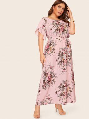 Размер плюс платье с цветочным принтом и оригинальным рукавом