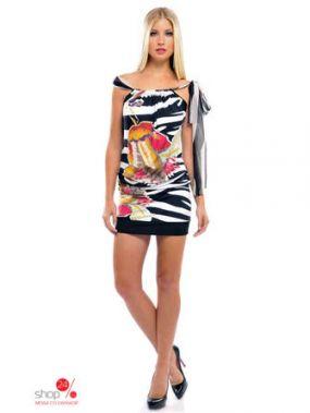 Платье Olian, цвет белый, черный, розовый