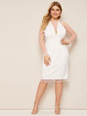 Прозрачное платье-карандаш с жемчугами и сетчатой вставкой размера плюс