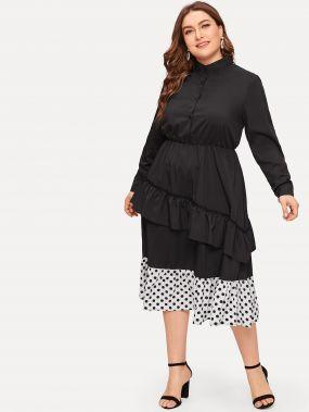 Размера плюс платье в горошек с отделкой