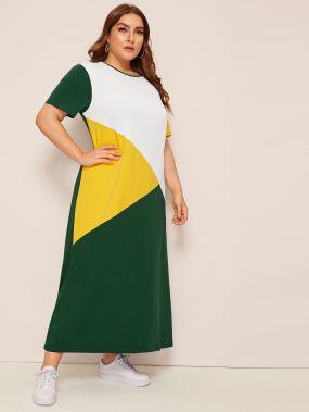 Размер плюс контрастное длинное платье