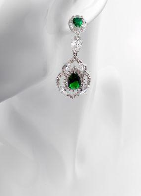 Серьги с зелеными кристаллами 0165-11
