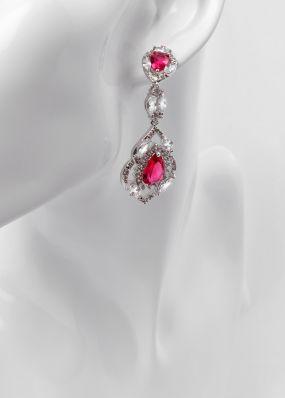 Серьги с красными кристаллами 0165-12