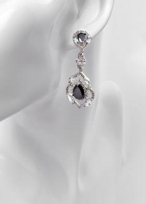 Серьги с черными кристаллами 0165-19