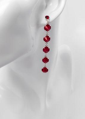 Серьги с бордовыми кристаллами swarovski 02503B
