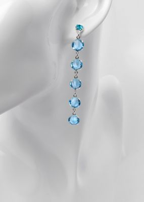 Серьги с бирюзовыми кристаллами swarovski 02503Bi