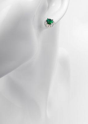 Серьги гвоздики с зеленым камнем 1016-11