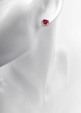 Серьги-гвоздики с красным камнем 1016-12