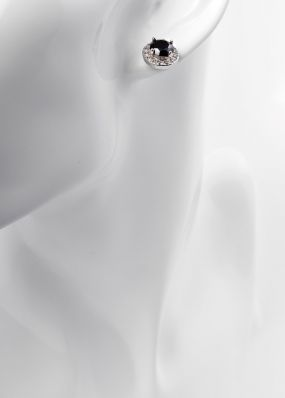 Серьги-гвоздики с черным камнем 1016-19