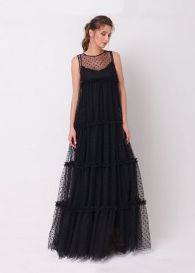 Свободное платье из сетки в горошек 170426
