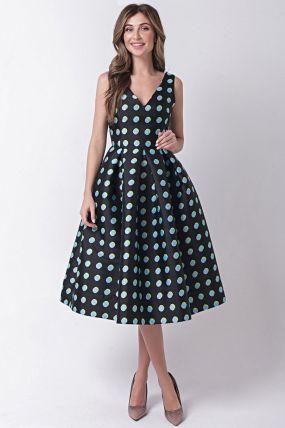 Платье с открытыми плечами в голубой горошек 170512B