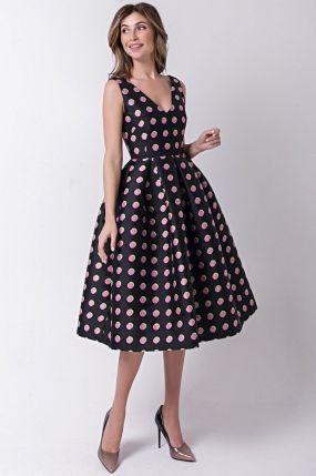 Платье с открытыми плечами в розовый горошек 170512P