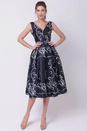 Синее вечернее платье с открытыми плечами 170512S