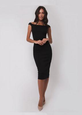 Элегантное черное платье длины миди 171118H
