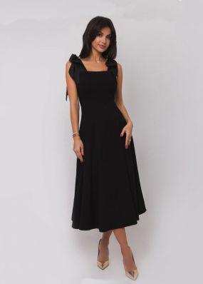 Стильное черное платье с бантами на плечах 180027B