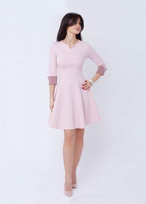 Розовое мини-платье с рукавами 180318B