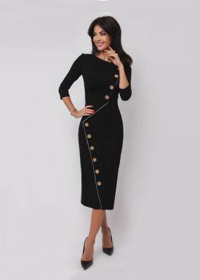 Модное платье-футляр с пуговицами 180726