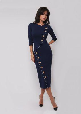 Модное платье-футляр с пуговицами 180726B