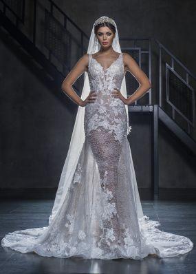 Полупрозрачное свадебное платье-русалка из кружева 18407