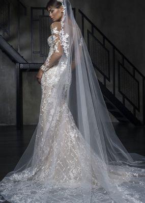 Свадебное платье с вышивкой и длинными рукавами 18458