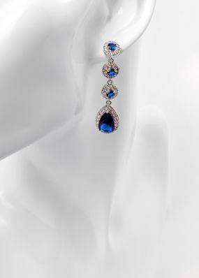Серьги с синими кристаллами 2811-10