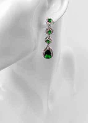 Серьги с зелеными кристаллами 2811-11
