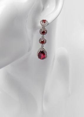 Серьги с красными кристаллами 2811-12