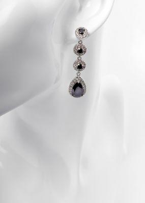 Серьги с черными кристаллами 2811-19