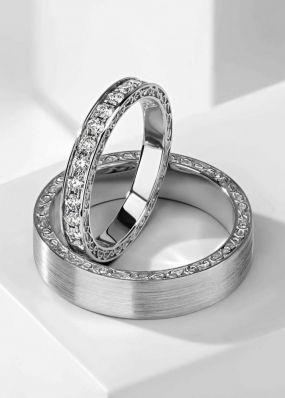 Обручальные кольца из белого золота BENDES 3008