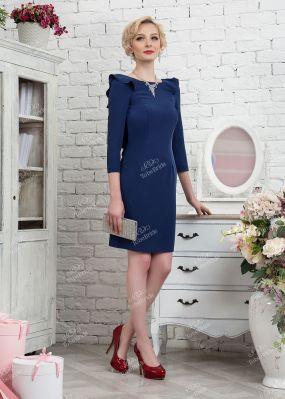 Темно-синее платье-футляр с вырезом на спине 320-1