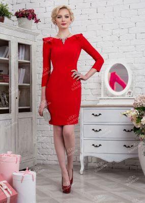 Красное вечернее платье-футляр с вырезом на спине 320-2