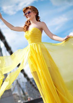 Лимонное вечернее платье в пол BB364B