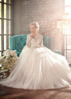 Пышное свадебное платье с длинным рукавом BR002