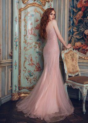 Розовое платье фасона русалка CH0018B