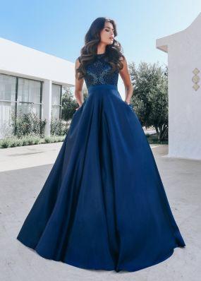 Темно-синее вечернее платье в пол CH103B
