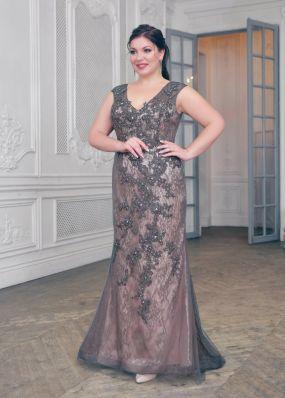 Вечернее платье силуэта русалка со стразами CH106B