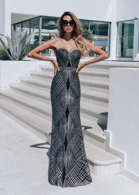 Открытое вечернее платье с пайетками CH107B