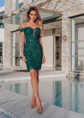 Кружевное платье-футляр с пайетками CH113B