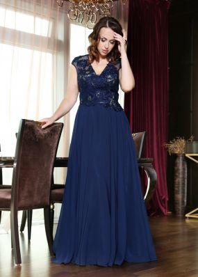 Темно-синее вечернее платье с вырезом CH114B