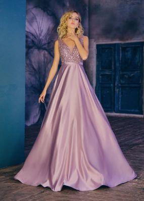 Атласное платье а-силуэта CH115B